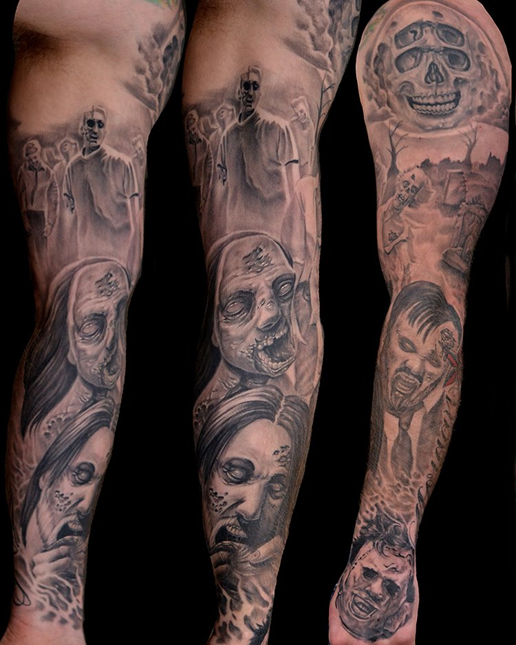 Black and Grey Zombie Sleeve Tattoo by Jonathan Gilbert