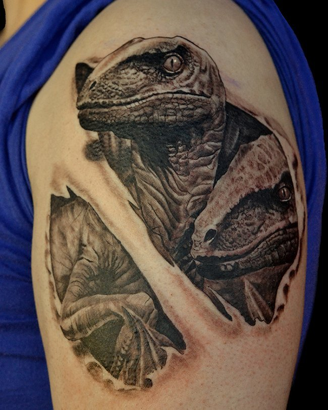 Black and Grey Lizard Tattoo by Jonathan Gilbert